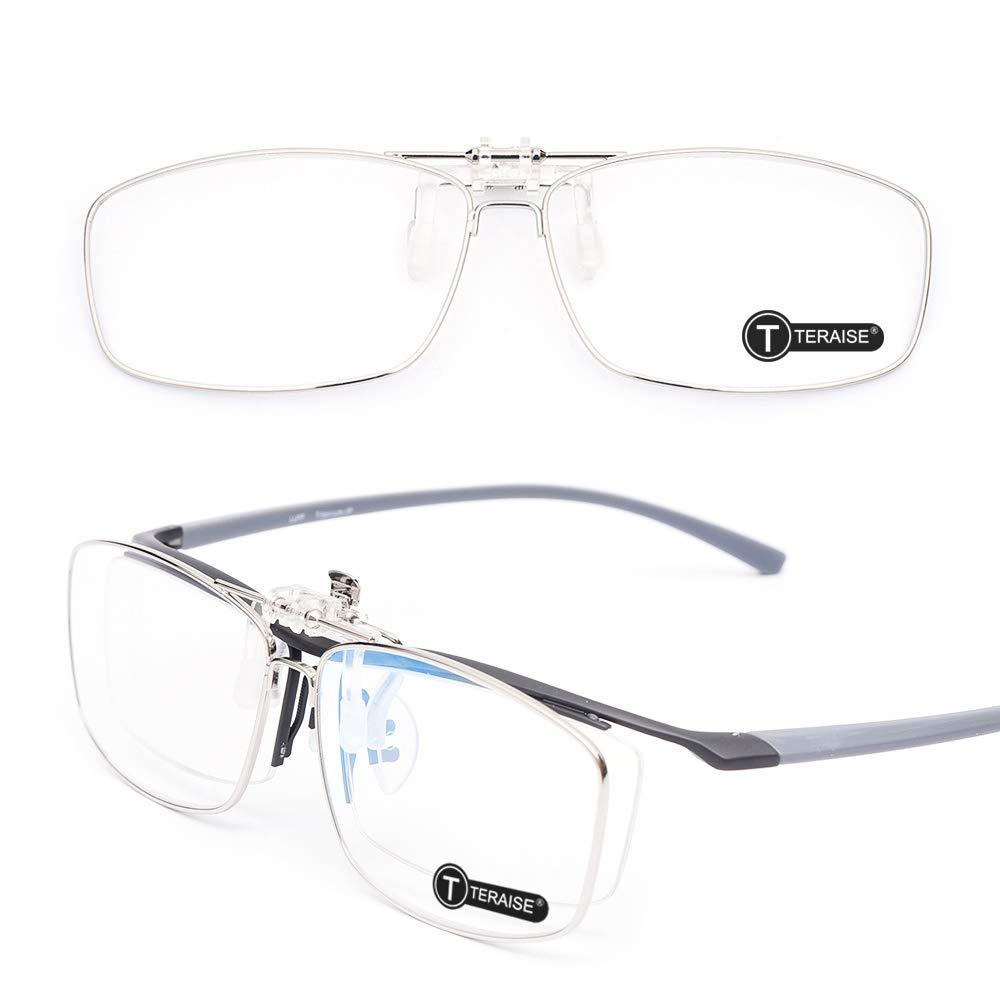 TERAISE Filtro de luz azul flip-up Clip en gafas de lectura/gafas antirreflejos para lentes de protección para hombres y mujeres(Rectangle)