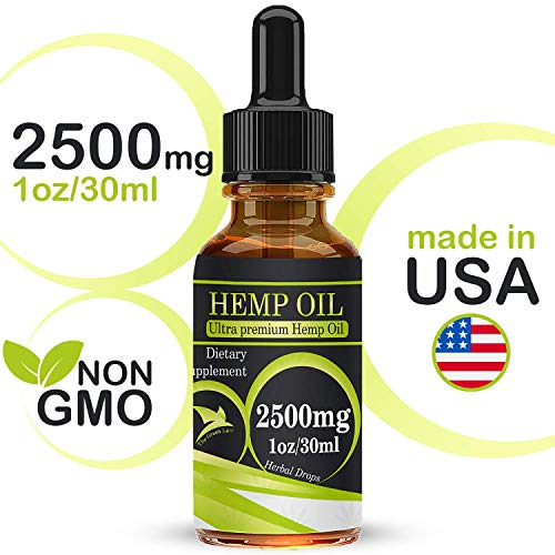 Organic Hemp Seed Oil Drops 2500mg, Full Spectrum, 100% Pure, Natural, CO2 Extracted Herbal Oil, Anti-inflammatory, Help Relieve Pain, Stress and Anxiety, 30ml