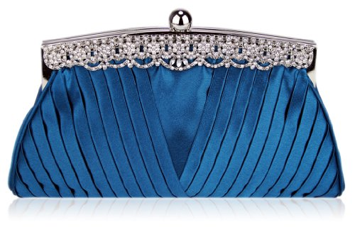 With Decoration DELIVERY Clutch FREE UK Fabulous Satin Ruched Teal Crystal IqxwHAC