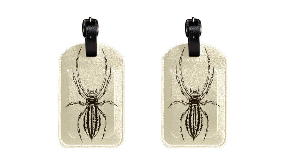 Correa de Cuero Ajustable Resistente a los ara/ñazos Spider 5 Maleta de Etiqueta de Equipaje de Cuero de PU dise/ño Elegante Paquete de 2