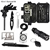 Survival Gear Kit,SPNRO Professional 10 in 1 Wild Emergency Survival EDC ...