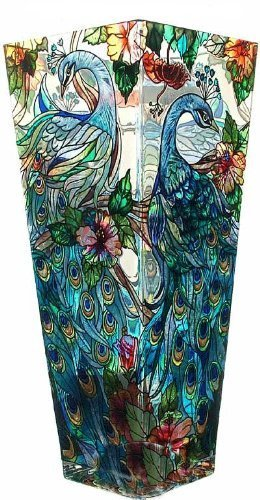 Amia 10-Inch Tall Hand-Painted Glass Vase Featuring a Peacock Design - Hand-painted glass 10-inch tall Comes gift boxed - vases, kitchen-dining-room-decor, kitchen-dining-room - 51YpEBfinXL -
