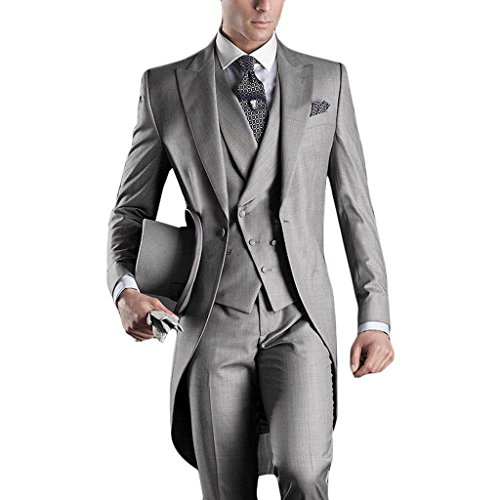 GEORGE BRIDE Premium Mens Tail Tuxedo 3pc Tailcoat Suit In Gray,Suit Jacket, Vest, Suit - In A Male Suit