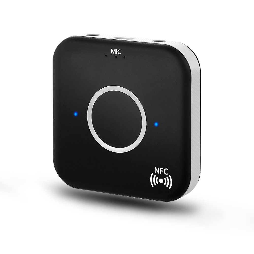 Bluetooth 4.1オーディオ受信機、ワイヤレスオーディオアダプタ( nfc-enabled )デュアルAux 3.5 MM出力とハンズフリー機能付きホーム/カーステレオシステム、携帯電話、テレビ、PC B01LZ8S3TO