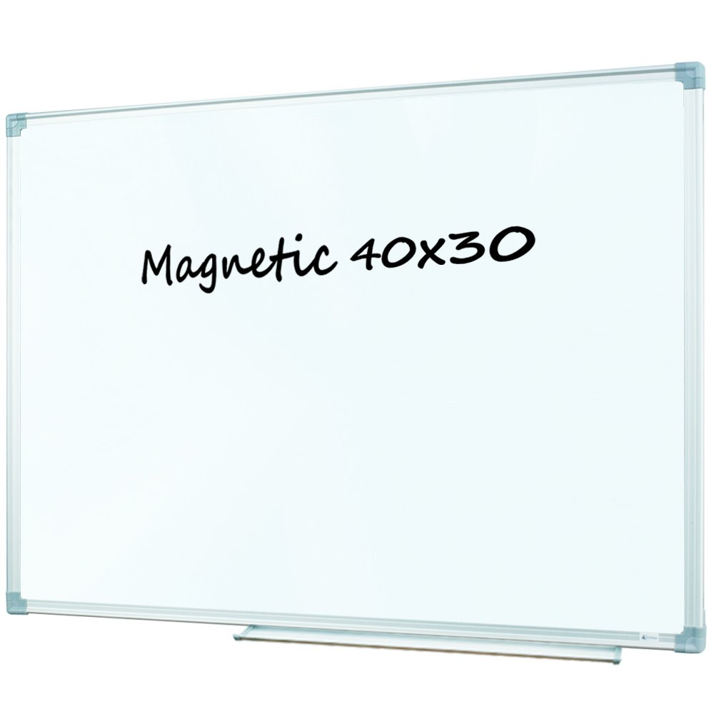 Lockways Whiteboard/Magnetic White Board - Dry Ease Board 40 x 30, Silver Aluminium Frame, 1 Aluminum Marker Tray, 1 Dry Erase Markers, 2 Magnets, for School, Home, Office