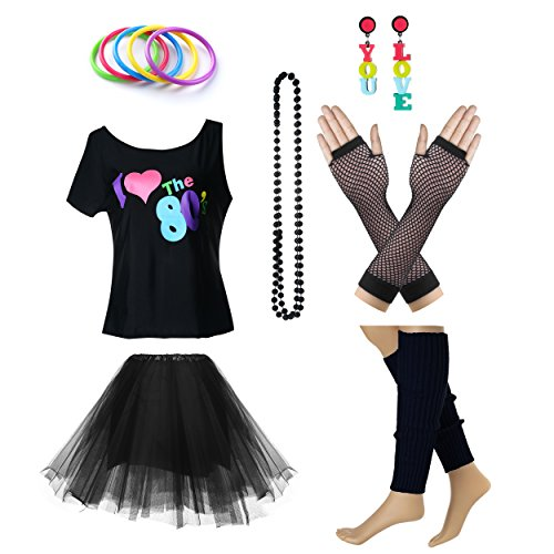 Women's I Love The 80's T-Shirt 80s Outfit Accessories(L/XL,Black)