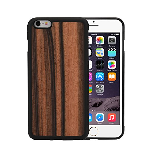 iphone 6 Plus iphone 6s Plus Wood Case, Unique Natural Genuine Hard Phone Shell,Ultra Slim Wooden Protective Cell Phone Cover Cases With Real Wood and TPU Material for Apple iphone 6p/iPhone 6sp(Ebon (Plus Wood Iphone6 Case)