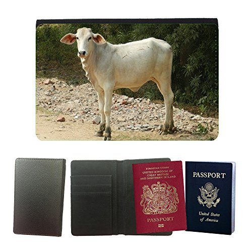 (Just Phone Cases Flip PU Leather Travel Passport Wallet Case with Flight Ticket Slots // M00128587 Calf Bovine Cattle Animal Humped // Universal Passport Leather Cover)