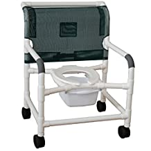 "MJM International 126-4-WB-F Extra Wide Shower Chair with Bar in Back, Flat Stock Seat, 425 oz Capacity, 40"" Height x 30"" Width x 29.5"" Depth, Royal Blue/Forest Green/Mauve"