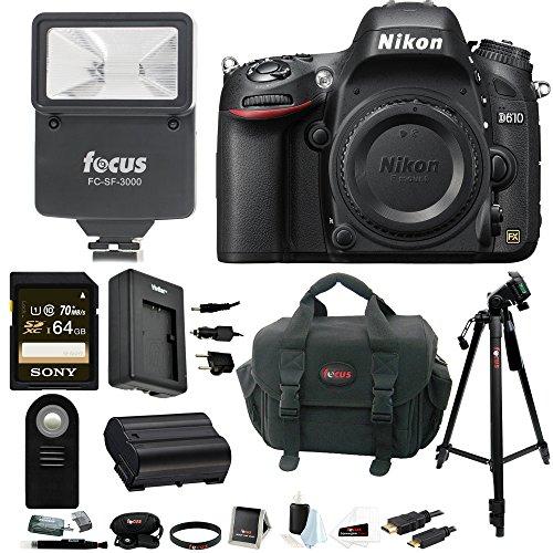 Nikon D610 FX-format DSLR Camera (Body) w/ Sony 64GB SD Card & Digital Slave Flash Bundle