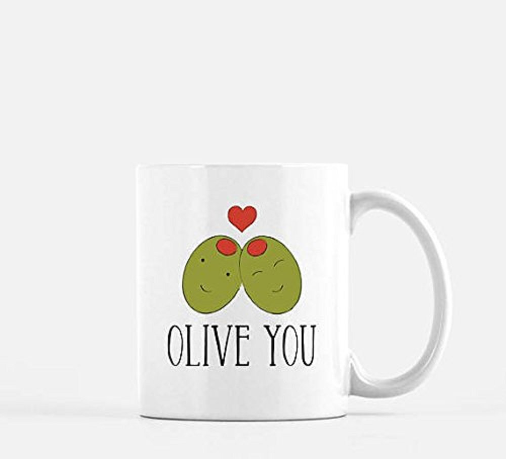 Olive You Coffee Mug Olive Us Valentine gift Coffee Mug Anniversary gift Valentine mugalentines day gift pun punny funny coffee mug Valentine mug