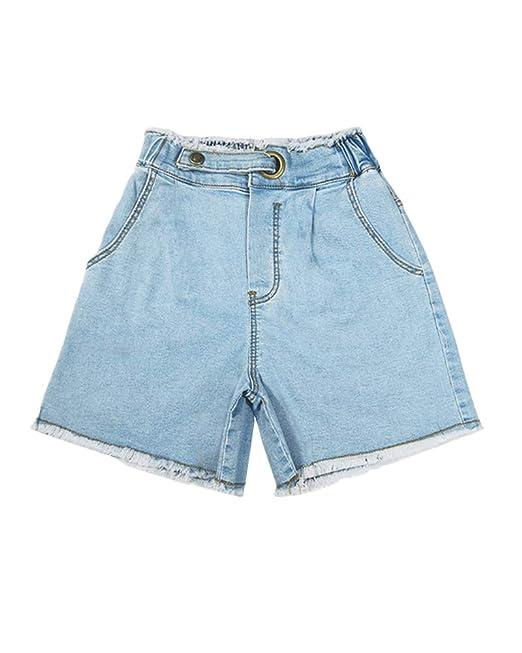 Pantalones Cortos para Niñas Suelto Cintura Alta Vaqueros De ...