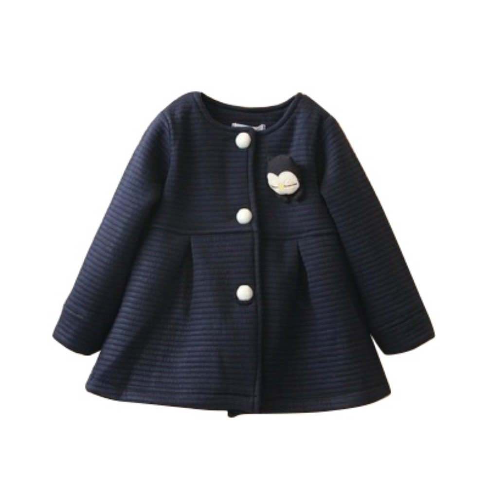 Shouhengda Toddler Baby Girls Single Breasted Jacket Outerwear Long Sleeve Dress Coat 2-3Y