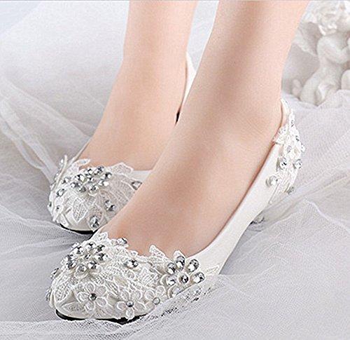 US DE 12 JINGXINSTORE Nupcial Tamaño Zapatos Puntilla 5 Tacones Tacón Crystal 4 Blanca de Boda Bajos 1 Blanca cm 6 5