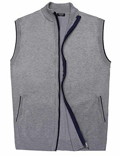 Coofandy Men's Slim Fit Sleeveless Jacket Coat Full Zip Cardigan Sweater Vest,X-Large,Grey Zip Sweater Vest