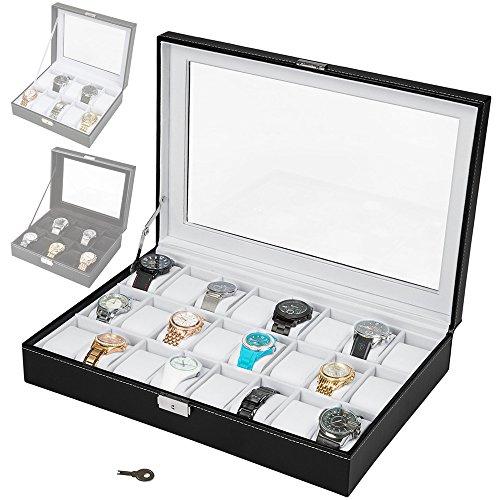TecTake Uhrenbox Uhrenkasten Kunstleder - diverse Farben - (Schwarz/Weiß 24 Uhren | Nr. 401538)