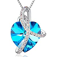 Angelady Eternity of Love Heart Pendant Necklace, Crystals with 5A Cubic Zirconia, Love Necklaces for Women Girls Wife…