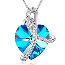 Love Guardian Heart Pendant Necklace Blue Crystal from Swarovski,Gift Women