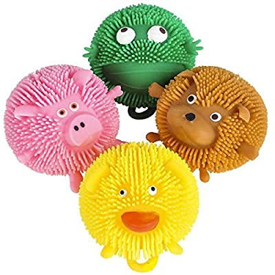 "Curious Minds Busy Bags Set of 4 (3"") Cute Mini Animal Puffer Balls - Sensory Fidget and Stress Balls - OT Autism SPD - Frog, Dog, Pig, Duck: Toys & Games"