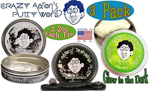 Crazy Aaron's Thinking Putty Strange Attractor, Liquid Glass & Krypton Bundle Gift Set - 3 Pack Crazy Aaron's