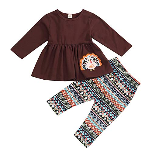 Thanksgiving Baby Girls Outfit Long Sleeve Turkey Dress Top Geometry Pants 2Pcs Clothes Sets (4-5 T, Brown)]()