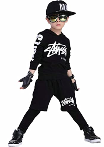 boys' 2pcs Hip Hop Tracksuit with Hoodie and Pants