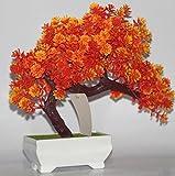 New Fashion Plastic Artificial Tree Plants Ceramics Bonsai Tree Pot Culture For Office Home Living Room Furnishings Decorative (Orange)