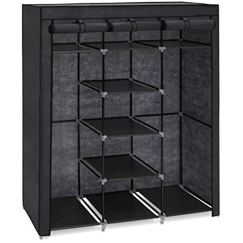 Best Choice Products 9-Shelf Portable Fabric Closet Wardrobe Storage Organizer w/Cover and Adjustable Rods - Black by Best Choice Products