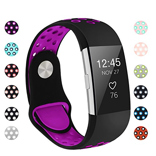 POY Replacement Bands Compatible for Fitbit Charge 2, Adjustable Breathable Wristbands with Air Holes Straps, Small Black/Purple