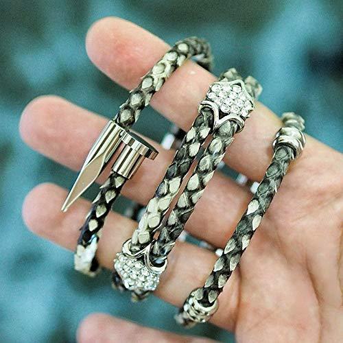 - Mikash Men 6mm Snake Python Leather Bracelet with Stainless Steel Nail Bracelets Bangle | Model BRCLT - 10236 | 21cm