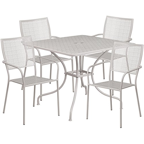 Westbury 5-pcs Table Set Square 35.5'' Light Gray w/4 Square Back Chairs by iHome Studio