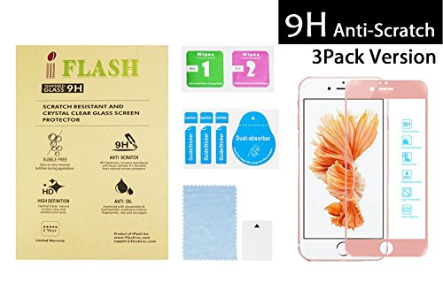 iFlash [3 Pack] Full Coverage Tempered Glass Screen Protector for Apple iPhone 6S Plus / 6 Plus 5.5