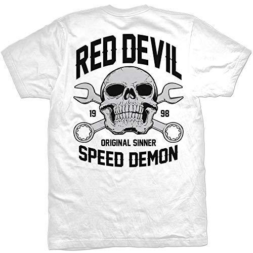 Men's Red Devil Clothing Speed Demon T-Shirt White L (Speed Tshirt Demon)