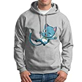 Man Boy Anime Blue Cat Happy Fairy Tail Hooded Hoodies Sweatshirt
