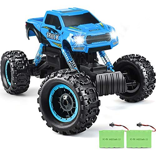 DOUBLE E RC Cars Newest 1: 12 Scale Remote Control Car with Two Rechargeable Batteries & Dual Motors Off Road RC Trucks, High Speed Racing Car for Kids, Blue
