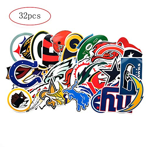 32pcs Football NFL New England Patriots Philadelphia Eagles Badge Laptop Stickers Soccer Star Stickers Computer Car Skateboard Motorcycle Bicycle Luggage Guitar Bike Decal