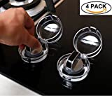 Clear 4 Pack Safety Children Kitchen Stove Gas Knob Covers Protection Locks for Child Safety