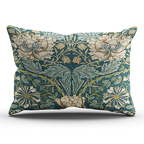 KAQIU Home Decoration Pillowcase Teal Vintage Tulips by William Morris Custom Cushion King Size 20x36 Inch Throw Pillow Cover Hidden Zipper Chic Personality Rectangular One Sided Printed Design ()