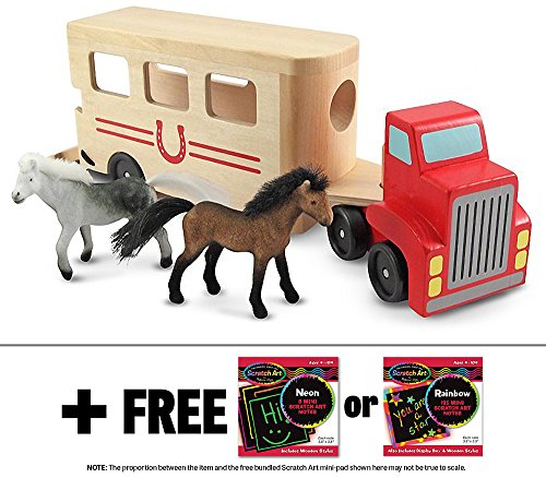 Wooden Horse Carrier Toy + FREE Melissa & Doug Scratch Art Mini-Pad Bundle [40976]