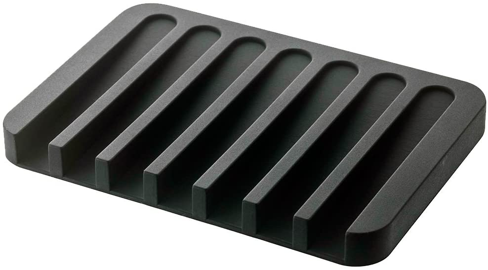 YAMAZAKI home 7398 Flow Soap Tray-Silicone Holder Dish for Sink, Black