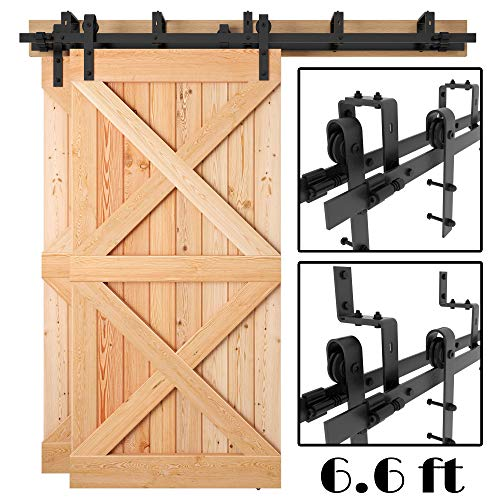 [Sale] 6.6FT Heavy Duty Bypass Double Door Sliding Barn Door Hardware (Powder Coated Black) (J Shape Hangers) (2 x 6.6Ft Solid Rails) Installation Video Included by Homeland Hardware (New York)
