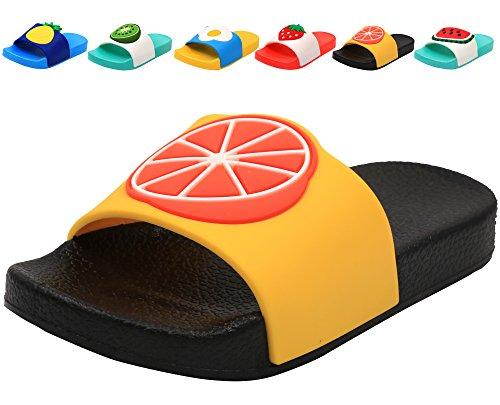 (Femizee Colorful Fruit Boys Girls Slide Sandals Summer Beach Pool Bath Slippers (Toddler/Little Kid) Orange SHO1225 CN24)
