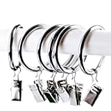 Pveath 20 Pcs Curtain Clip Ring,Stainless Steel Hanging Hooks,Heavy Duty, For Curtain Home Decoration(3.8cm + 3.5Cm)