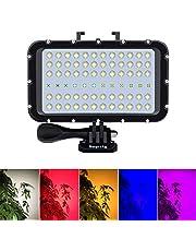 Suptig Video Verlichting Duik Licht Onderwater Lights 72 Led Lights Compatibel Voor Gopro Canon Nikon Pentax Panasonic Sony Samsung SLR Camera's 5 Soorten Verlichtende Kleuren Waterdicht 147ft(45m)