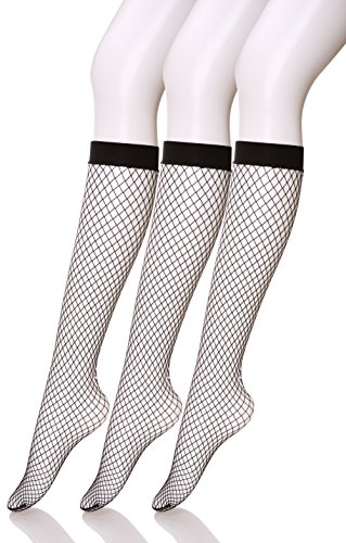 Color City 3 Pairs Women's Sexy Fishnet Knee High Socks - Stylish Black + Hollow Out (C) (Black Fishnet Knee Highs)