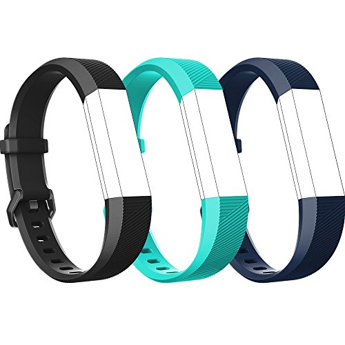 RedTaro Replacement Bands for both Fitbit Alta HR and Fitbit Alta, Small Large, the Alta HR New Design Wristbands,Fitbit Alta HR and HR Accessory Bands (#101 Black, Teal, Navy Blue, Large)