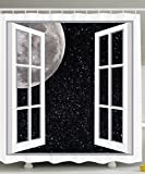 Designer Shower Curtains Ambesonne Galaxy Shower Curtain Home Designer Decor by, Full Moon Through Wooden Windows Fairy Scene At Night Space Art Picture Print, Astronomy Gifts, Polyester Fabric Bathroom Set Black White
