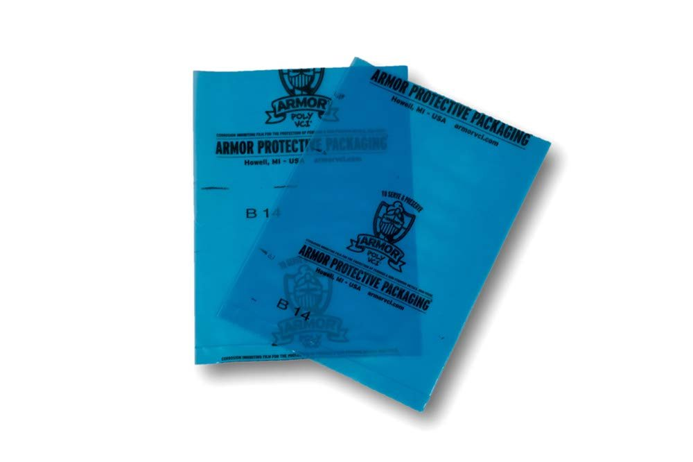 Corrosion on Ferrous and Non-Ferrous Metal Blue Armor Protective Packaging PVCIBAG4MB0305ZIP VCI Poly Zipper Bag Prevents Rust 4 Mil 3 X 5 Pack of 5000 3 X 5