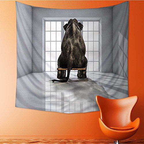 AuraiseHome Polyester Fabric Wall Decor lonely elephant in the room for commercials Wall Hanging Bedroom Living Room Dorm Home Decor Tapestry32W x 32L Inch by AuraiseHome