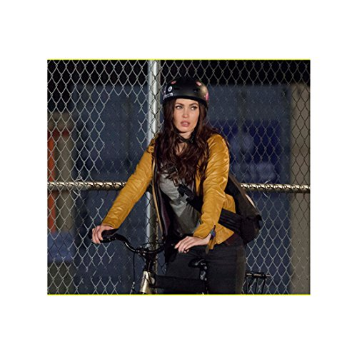 Megan-Fox-in-Brown-Leather-Jacket-and-Helmet-Riding-Bike-Chain-Link-Fence-Background-8-x-10-inch-photo